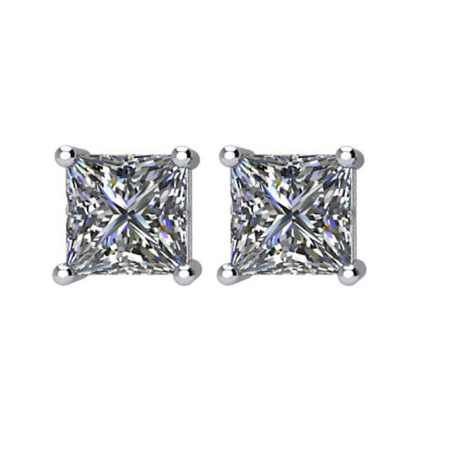 1.0 CT TW Princess Cut Diamond Stud Earrings