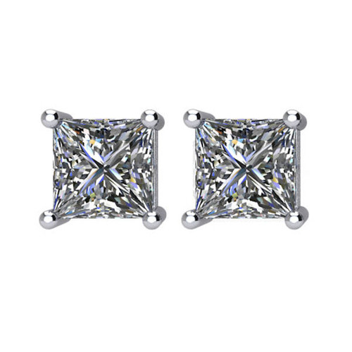 1.5 CT TW Princess Cut Diamond Stud Earrings