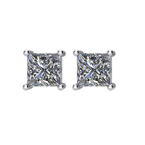 1/2 CT TW Princess Cut Diamond Stud Earrings