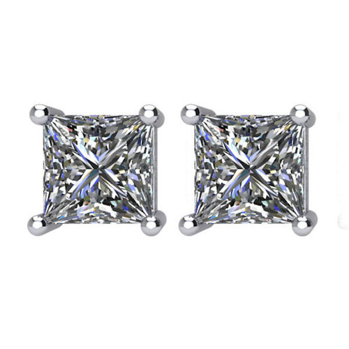 2.0 CT TW Princess Cut Diamond Stud Earrings