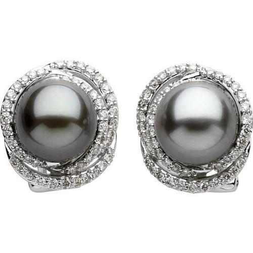 Black Tahitian & 0.62 Ct Tw Diamond Earrings