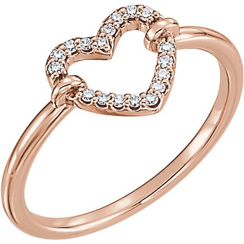 Rose Gold Petite Diamond Heart Ring