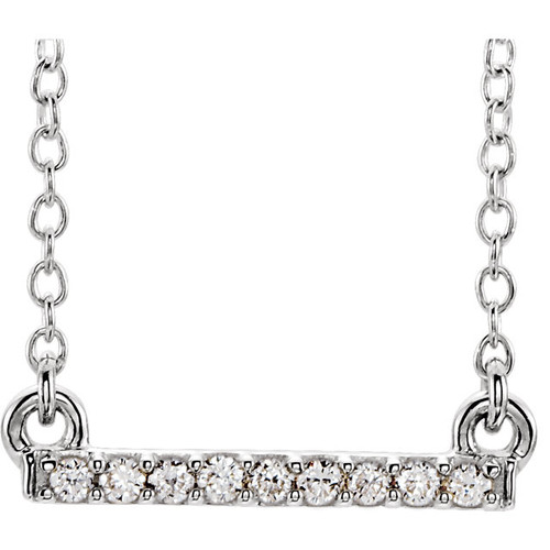 White Gold Petite Diamond Bar Necklace