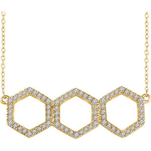 Yellow Gold Triple Hexagon Diamond Necklace