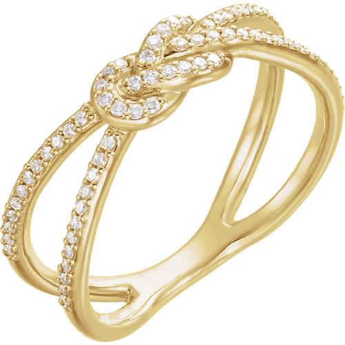 Yellow Gold Diamond Knot Ring