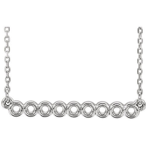 White Gold Circle Bar Necklace