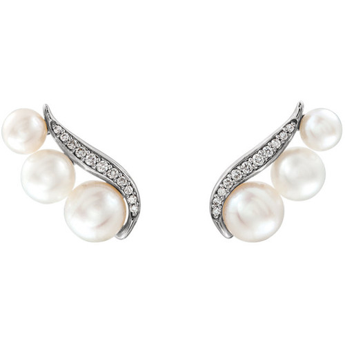 White Gold Freshwater Pearl & Diamond Earrings