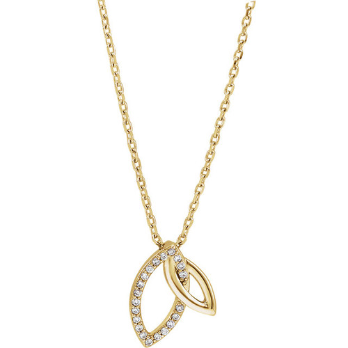 Yellow Gold Double Leaf Diamond Necklace
