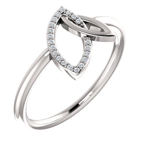 White Gold Double Leaf Diamond Ring