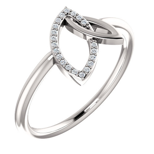 Double Leaf Diamond Ring