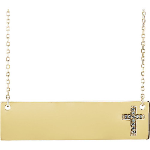 Yellow Gold Engravable Diamond Cross Necklace