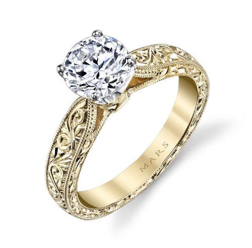 Hand Engraved Milgrain Engagement Ring