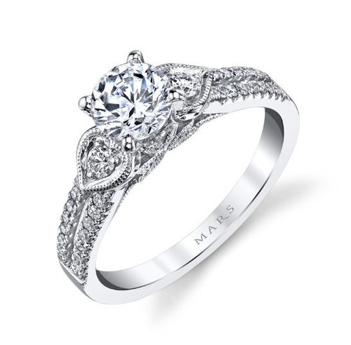 Floral Diamond Accent Engagement Ring