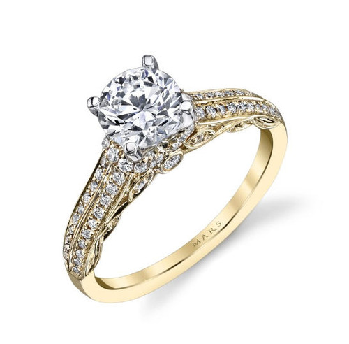 Vintage Diamond Accent Engagement Ring