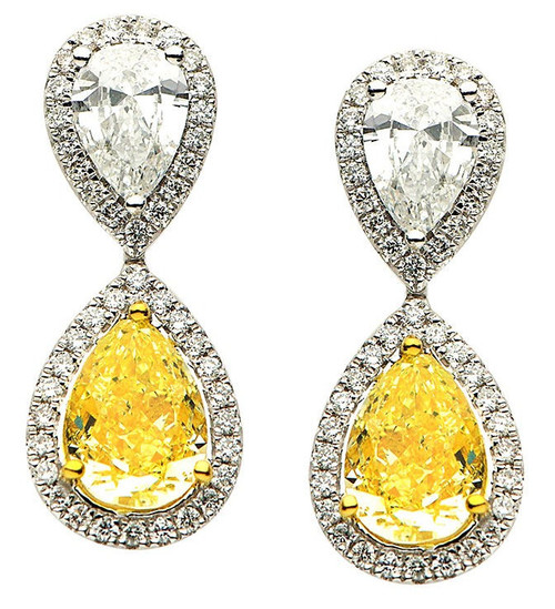 Fancy Yellow Diamond Earrings 6.01 Ct Tw.