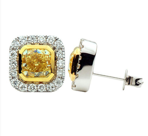 Fancy Yellow Halo Stud Earrings 2.83 Ct Tw
