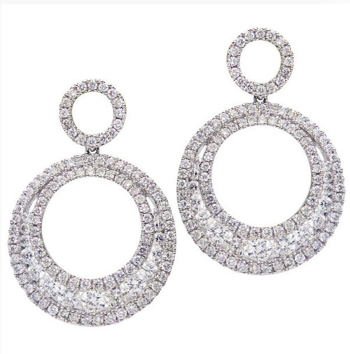 Circular Diamond Drop Earrings 1.88 Ct Tw