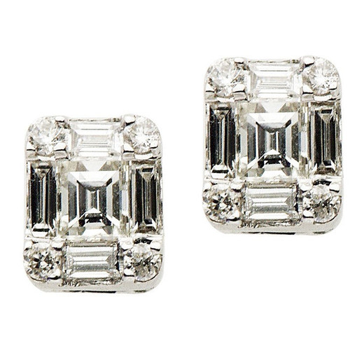 Diamond Cluster Stud Earrings 0.77 Ct Tw