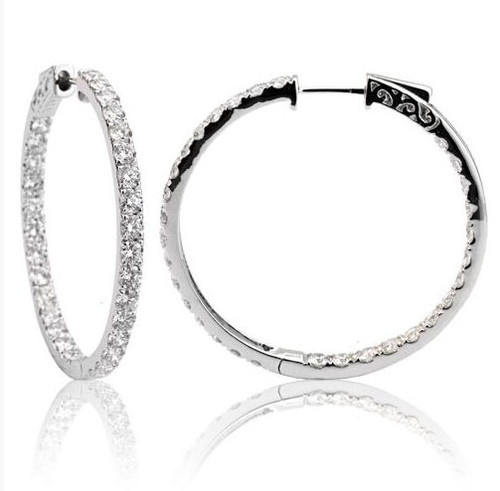 4.25 Ct Tw Diamond Hoop Earrings