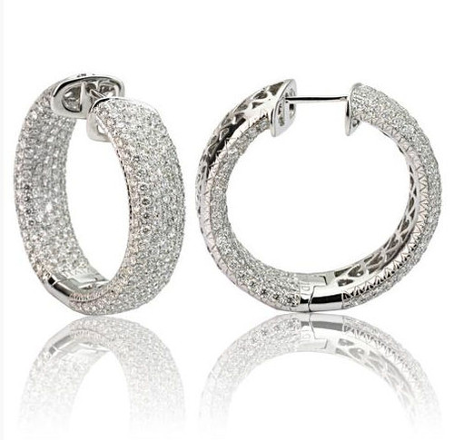 Diamond Pave Hoop Earrings 6.58 Ct Tw