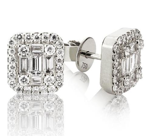 Round & Baguette Diamond Earrings