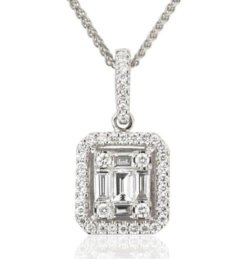 Round & Baguette Diamond Pendant 0.50 Ct Tw