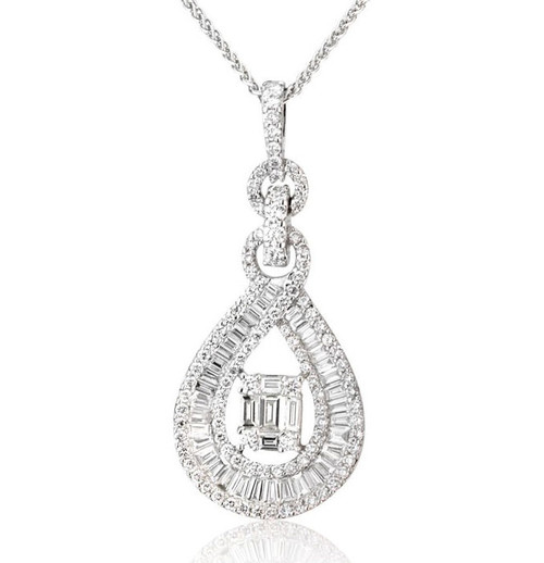 1.28 Ct Round & Baguette Diamond Pendant