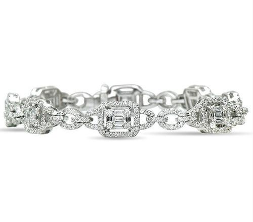 Baguette & Round Diamond Bracelet 2.10 Ct Tw