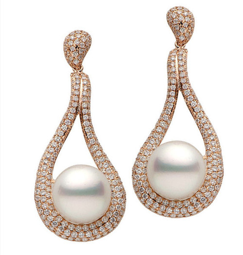 Rose Gold South Sea Cultured Diamond Earrings