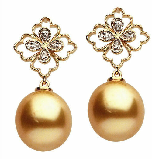 Diamond & Golden South Sea Cultured Pearl Earrings