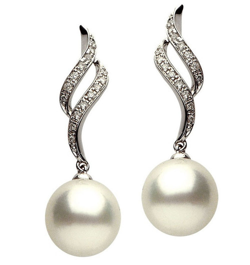 0.23Ct Tw Diamond & South Sea Cultured Pearl Earrings