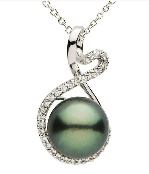 Black Tahitian Pearl & 0.24 Ct Tw Diamond Pendant