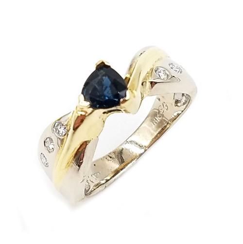 Trillion Cut Blue Sapphire & Diamond Ring