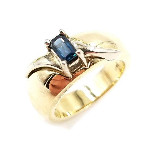 Emerald Cut Sapphire Two-Tone Gold Ring