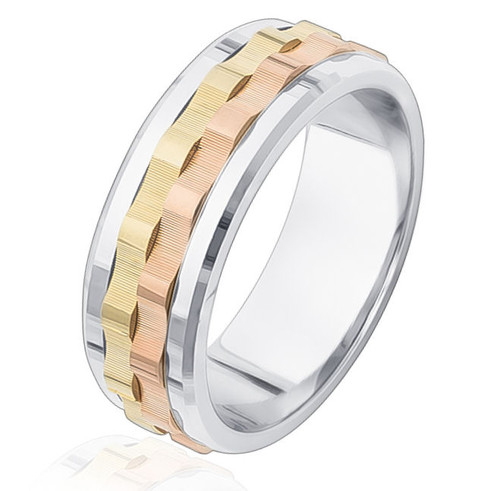 Tri-Color 8.0 MM Wedding Ring