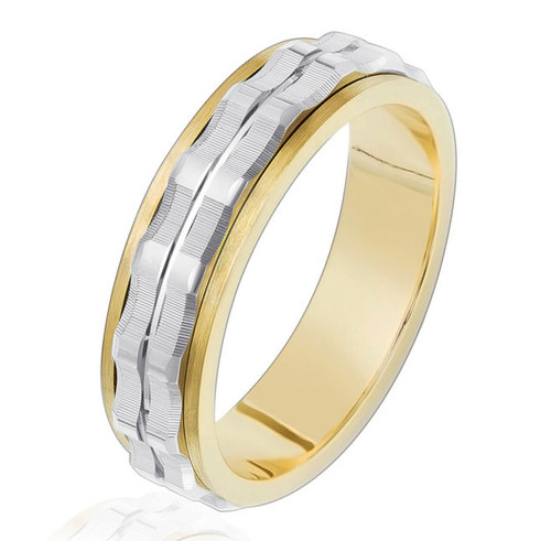 14Kt Two-Tone Men's Wedding Band