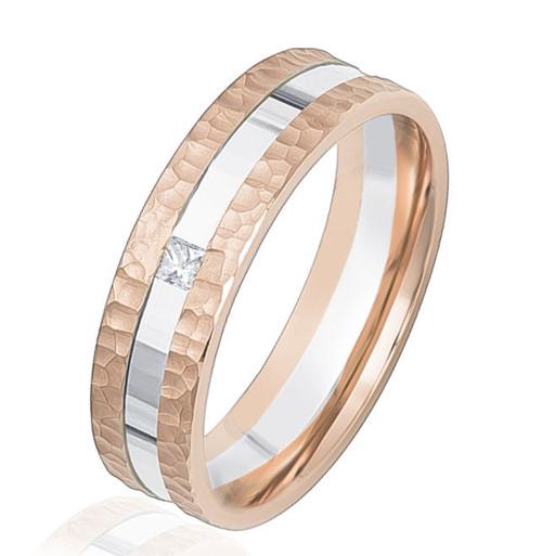 Rose & White Gold Hammered Diamond Wedding Ring