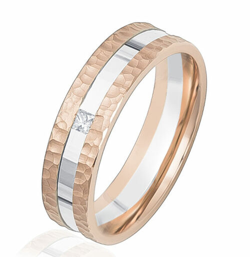 Rose & White Gold Hammered Diamond Wedding Ring
