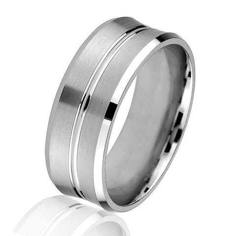White Gold Concave Wedding Ring