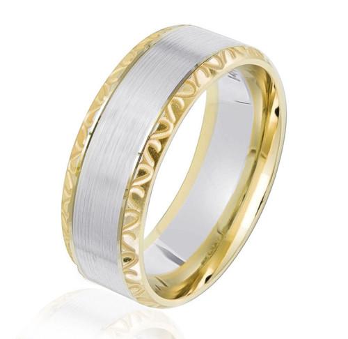 Two Tone Gold Beveled Wedding Ring