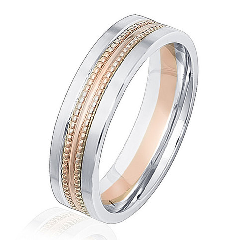 Rose & White Gold Beaded Comfort Fit Wedding Band
