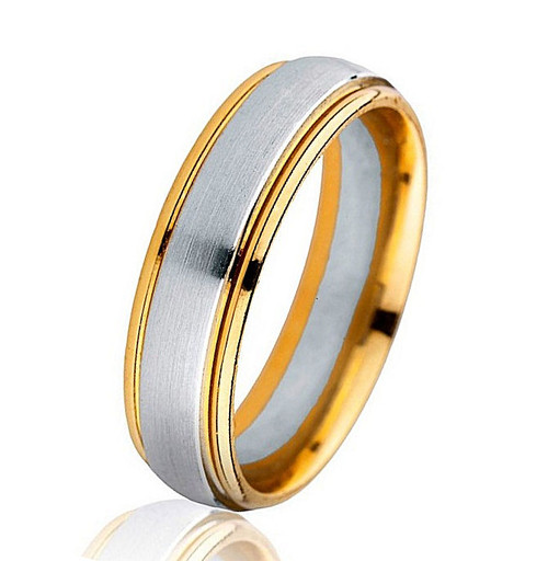 Classic Two-Tone Gold Comfort Fit Wedding Band