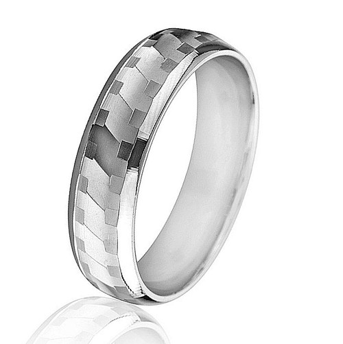 White Gold Patterned Wedding Band
