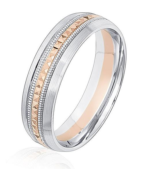 Rose & White Gold Patterned Wedding Ring