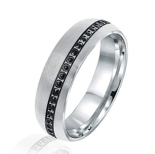 Beaded Black Rhodium Wedding Ring