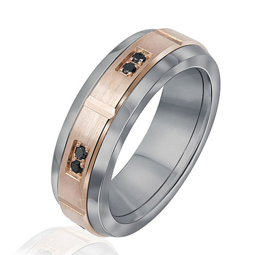 Rose Gold & Titanium Black Diamond Band