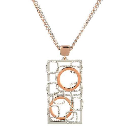 Sterling Silver Rose Gold Overlay Geometric Necklace