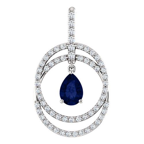 Double Circle Sapphire Pendant