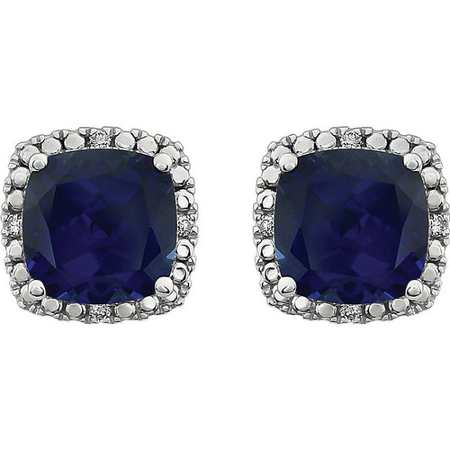 Created blue sapphire & diamond earrings