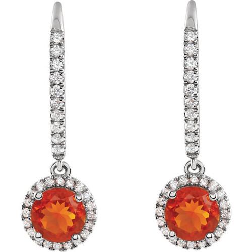 Mexican Fire Opal Halo Earrings